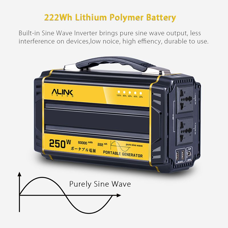 Alink 250w Portable Generator Solar Power Inverter Camping